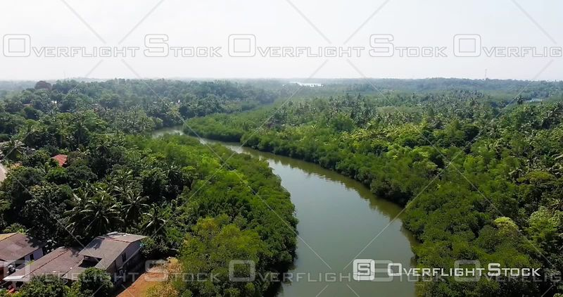 Aerial View of a Boat Ride on Bentota Ganga River, Sri Lanka, Filmed by Drone