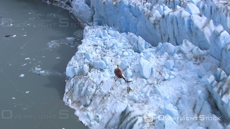 Helicopter Flying Over Glacier, Alaska