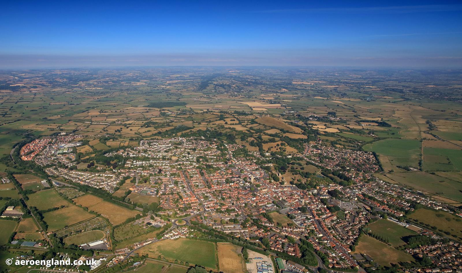 Glastonbury Somerset aerial photograph