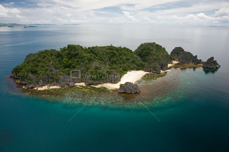 Aerial view of Matukad Island and beach, Camarines Sur, Luzon, Philippines 2008