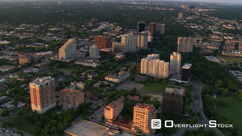 Aerial view of Turtle Creek area north of downtown Dallas, Texas