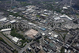 Bolton aerial photograph looking across Bolton railway station to the industrial area surrounding the Thynne Street