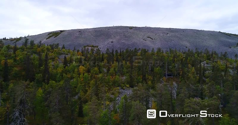 Fjeld Mountain, Aerial Rising View of Luostotunturi Fell, in Pyhaluosto National Park in Lapland, on a Cloudy Autumn Day, in Lappi, Finland