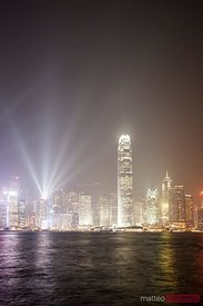 Hong Kong Victoria harbor at night with light show
