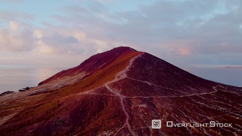 Montana Roja, Red Mountain, at sunrise,  filmed by drone, Tenerife, Canary Islands