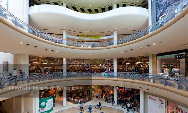 The interior of The Bullring Shopping Centre, Birmingham, West Midlands, England, UK