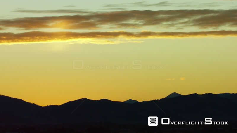 Bozeman, Montana sits in the shadow of the Gallatin mountain Range at sunrise in southwestern Montana