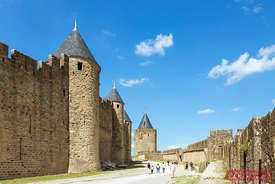 Walls of the fortified citadel, Carcassonne, France