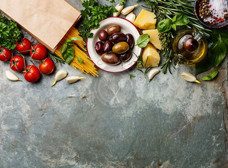 The picture pantry food stock photo library italian food italian food ingredients background with spaghetti parmesan olives oil and basil forumfinder Gallery