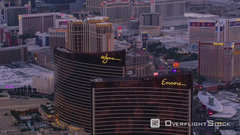 Las Vegas, Nevada Aerial view of Las Vegas Strip, Wynn and Encore towers.  Shot with Cineflex and RED EpicW Helium.