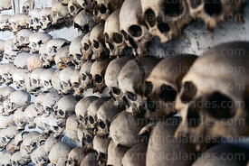 Skulls hanging on wall inside tomb of Enrique Torres Belón, church of Santiago the Apostle / Immaculate Conception, Lampa, Peru