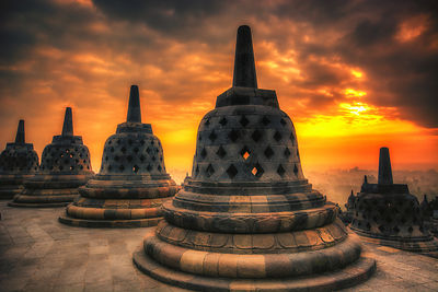 Borobudur Temple at Sunrise.  Near Jogyakarta, Indonesia.