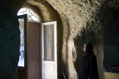 Egypt - Cairo - A portrait of an old Copt man in the cave church of St Bola's