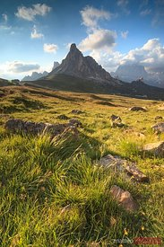 Sunset over Giau pass in the Dolomites Italy
