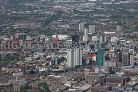 Birmingham  aerial photograph of the skyline and tall buildings and Beetham Tower in the City centre