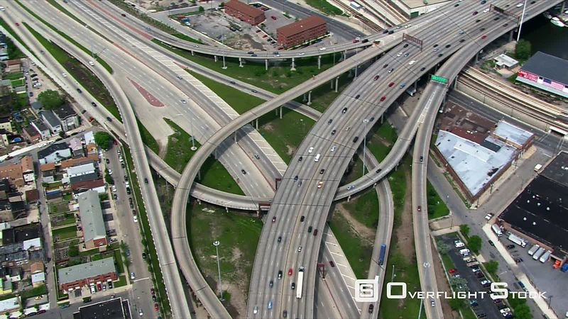 Close partial orbit of Chicago freeway interchange.