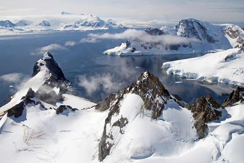Aerial view of coast of Antarctic Peninsula. February 2008.