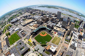 Auto Zone Baseball Park and Fish Eye View of Memphis Tennessee
