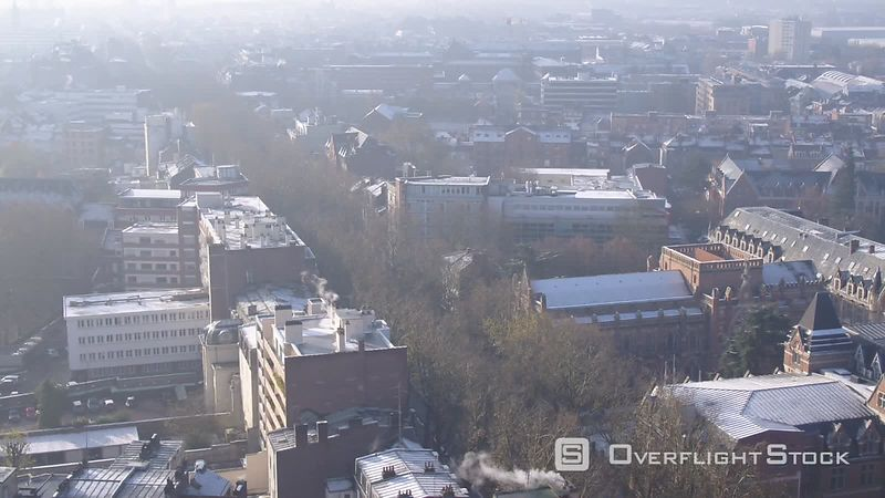 Aerial Panoramic View of Lille City Center With Snow View from Vauban Area, Filmed by Drone, Nord, France
