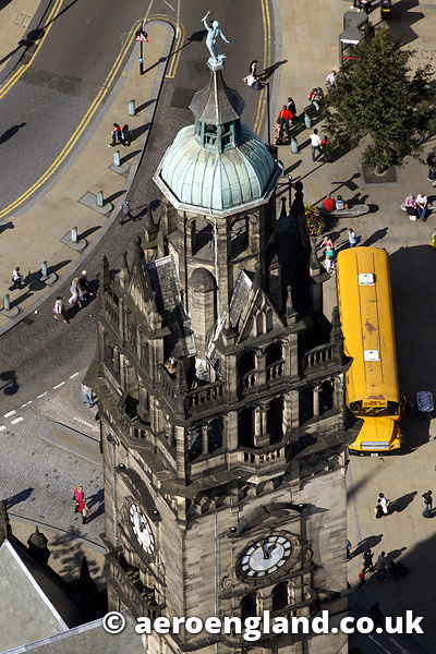 aerial photograph of statue of Vulcan on Sheffield town hall  in Yorkshire,  England UK