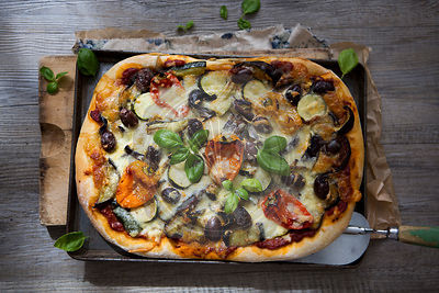 Homemade Roasted Vegetable Pizza with Olives, Basil and Peppers