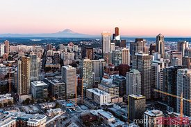 Aerial view of Seattle downtown skyline at sunset, USA