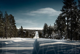 Straight ice road in forest and mountain
