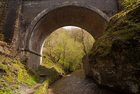 Footpath under the bridge in Chee Dale Derbyshire