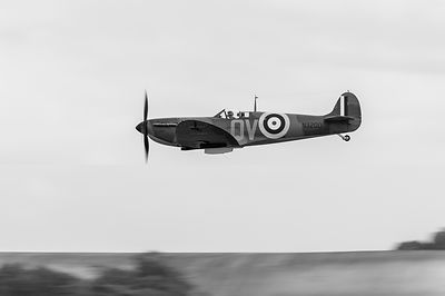 Spitfire low-level flying black and white version