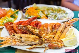Mixed grilled seafood plate, Madrid, Spain