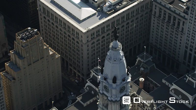 Orbiting Aerial View of Philadelphia City Hall.