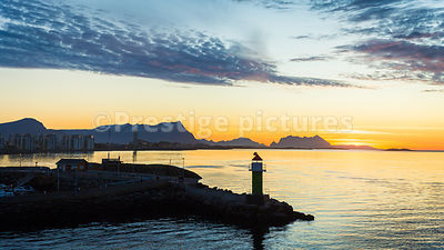 Lighthouse on the breakwater leading into Bodø harbour