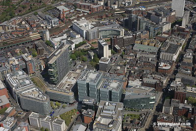aerial photograph of the Spinningfields area of Manchester City Centre