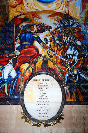List of victorious battles of Mariscal Andrés de Santa Cruz in side chapel of cathedral where he is buried, Plaza Murillo, La Paz, Bolivia