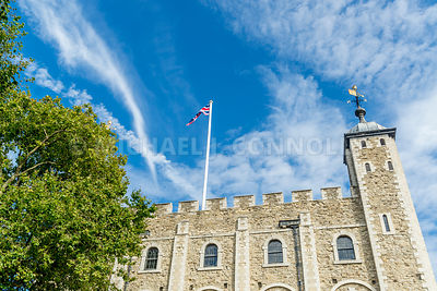 British Flag Over The White Tower- Tower of London, London, England