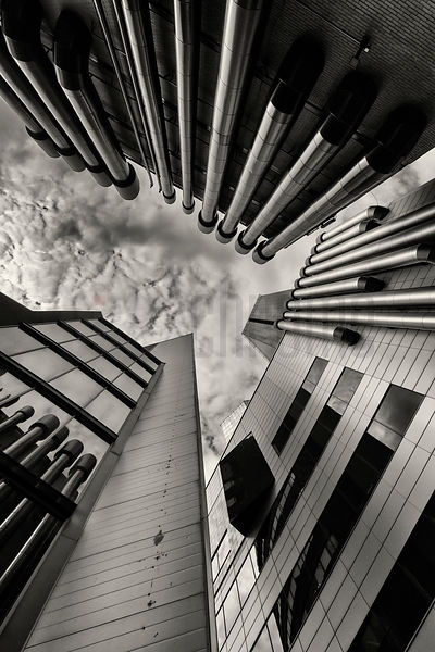 Looking Up Between Modern Office Buildings