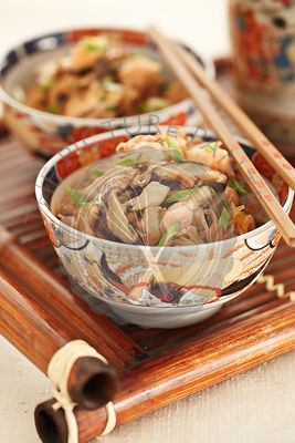 Asian noodle with chicken and shiitake mushrooms