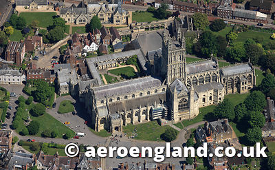 aerial photograph of Gloucester Cathedral Gloucestershire  England UK