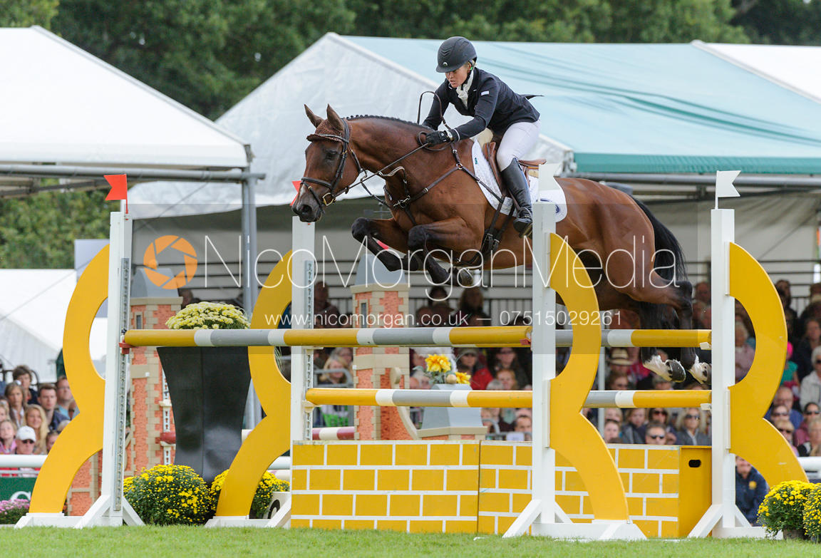 Jonelle Richards and FLINTSTAR - show jumping phase, Burghley Horse Trials 2013.