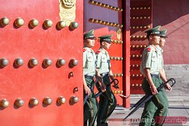 Chinese soldiers marching in Beijing, China