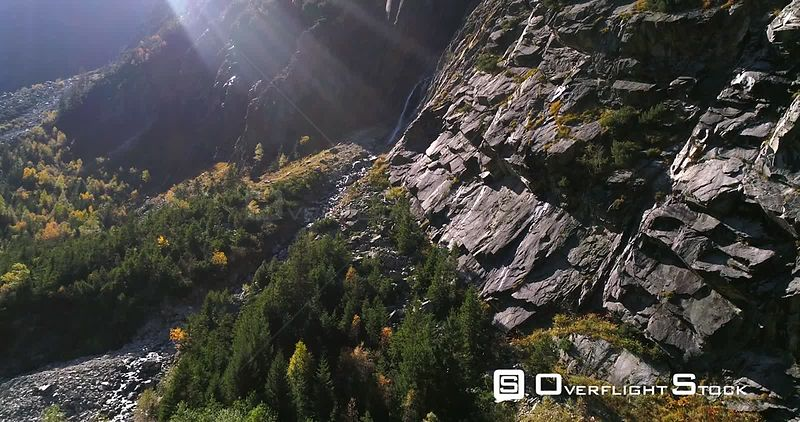 Waterfall, Mountains, 4k View Towards a Swiss Waterfall a Alpine Landscape, Sunny Autumn October Day, on Grimsel Pass, Bern, Switzerland