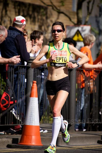 Emma Stepto (14th) of Great Britain Running in the 2014 Virgin Money London Marathon