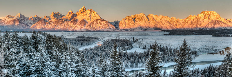Alpenglow of Teton Range from Snake River Overlook.  Grand Tetons National Park, Wyoming