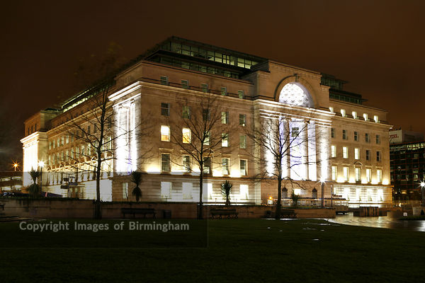 Baskerville House in Centenary Square, Birmingham, UK.  At night.