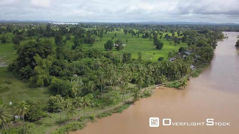 Aerial view of French colonial bridge between Don Khone Island and Don Det Island on Mekong river, 4000 islands, filmed by drone, Laos