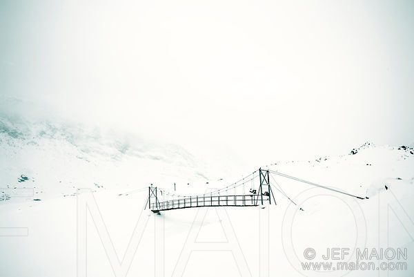 Bridge in fog and winter