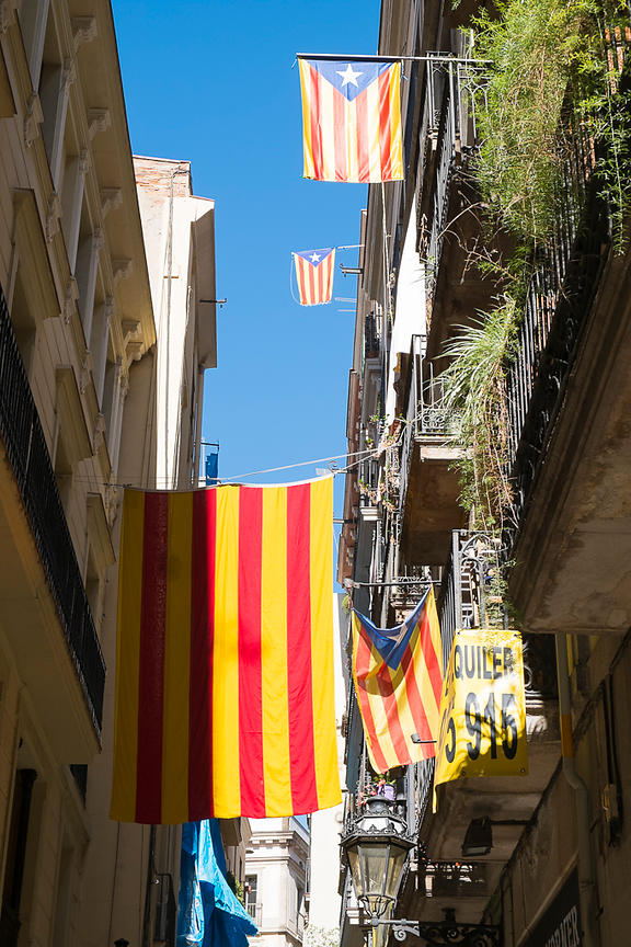 Catalonian Flags - Barcelona, Spain