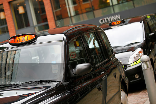 Black Taxi cab outside of City Inn Hotel in Brindleyplace, Birmingham