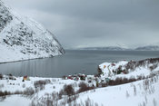 Winter fjord and village