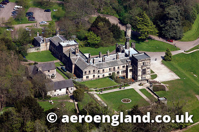 aerial photograph of Ilam  Hall Derbyshire England UK
